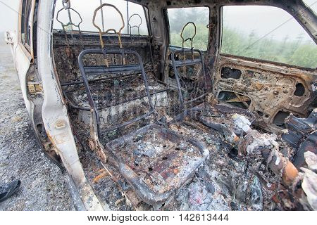 Looking Into A Burnt Out Car Interior