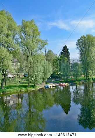 Village of Herchen at River Sieg in Siegerland,North Rhine Westphalia,Germany