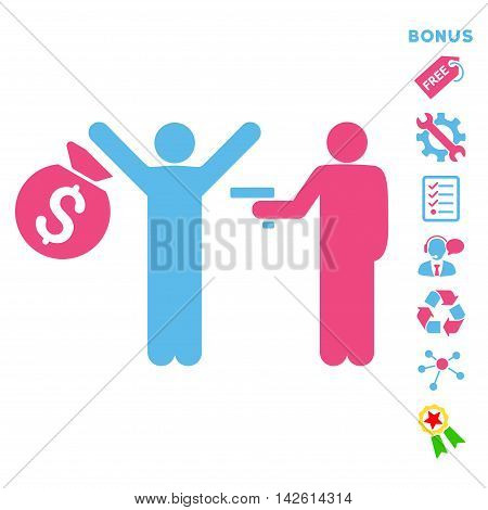 Thief Arrest icon with bonus pictograms. Vector illustration style is flat iconic bicolor symbols, pink and blue colors, white background, rounded angles.