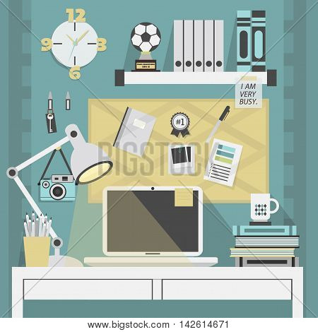 Flat modern and stylish teal working place with some accessories