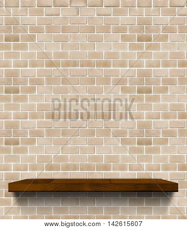 Dark Brown Wooden Shelf On Regular Light Orange Brick Wall,template Mock Up For Display Of Product,b