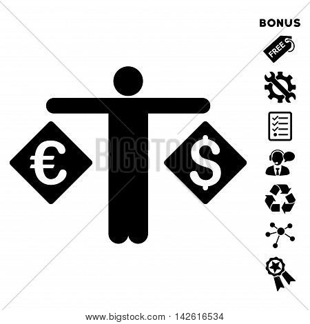 Currency Trader icon with bonus pictograms. Vector illustration style is flat iconic symbols, black color, white background, rounded angles.