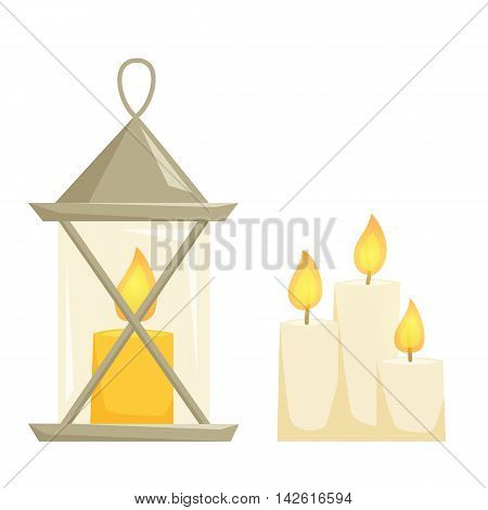 Candele and candle latern set. Candlelight isolated on wihte background. Cartoon candelestick icon. Interior decor elements. Cristmas decoration for shelves, table, cabinet.
