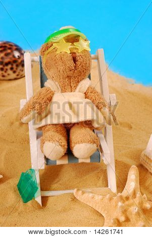 Teddy Bear Relaxing On The Beach