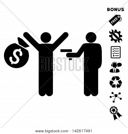 Thief Arrest icon with bonus pictograms. Vector illustration style is flat iconic symbols, black color, white background, rounded angles.