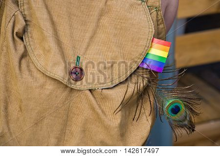 Corduroy bagpack with a gay rainbow flag and a peacock feather