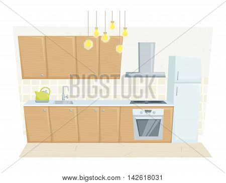 Kitchen interior with furniture and decoration in modern style. Kitchen interior cartoon vector illustration. Kitchen furniture: container, refrigerated, cabinet, cooler, stove. Modern interior