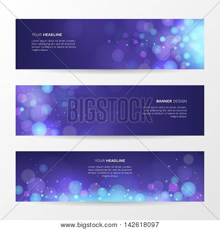 Vector abstract background with sparkling magic blue light. Set of horizontal banners with bright glow spark and bokeh effect.