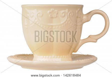 Ceramic cup and saucer isolated on the white white background