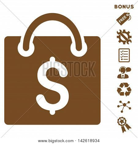 Shopping Bag icon with bonus pictograms. Vector illustration style is flat iconic symbols, brown color, white background, rounded angles.