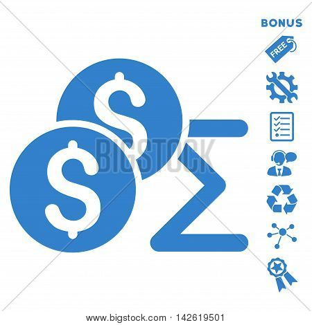 Coin Summary icon with bonus pictograms. Vector illustration style is flat iconic symbols, cobalt color, white background, rounded angles.