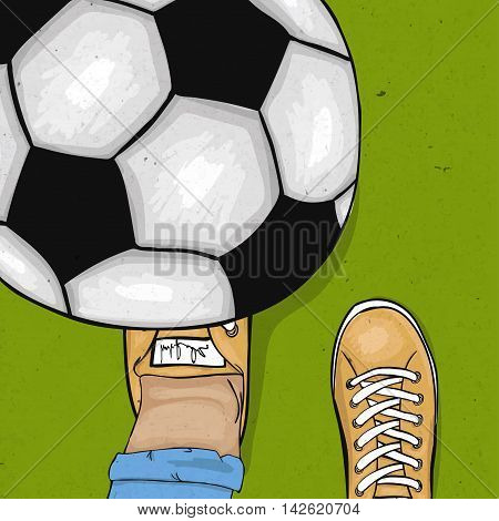 The player throws and gets his foot on the ball. The sports poster. Vector illustration