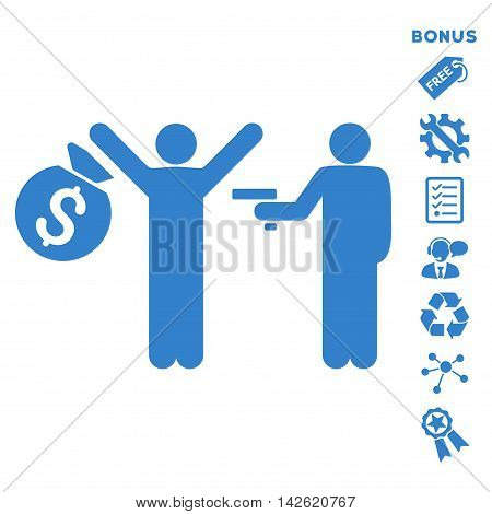 Thief Arrest icon with bonus pictograms. Vector illustration style is flat iconic symbols, cobalt color, white background, rounded angles.