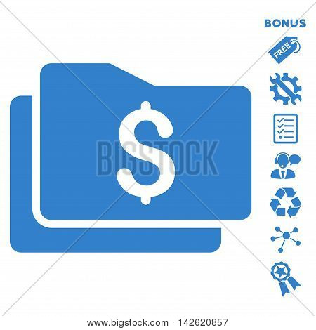 Wallet icon with bonus pictograms. Vector illustration style is flat iconic symbols, cobalt color, white background, rounded angles.