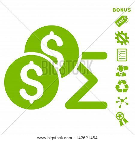 Coin Summary icon with bonus pictograms. Vector illustration style is flat iconic symbols, eco green color, white background, rounded angles.