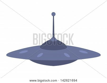 UFO craft plane and space station silhouette vector. Unidentified antenna planet travel universe UFO spaceship. Flying technology science UFO spaceship mystery rocket, cartoon design.