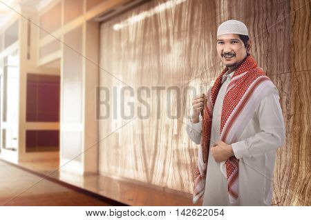 Young Man Asian Muslim In Mosque