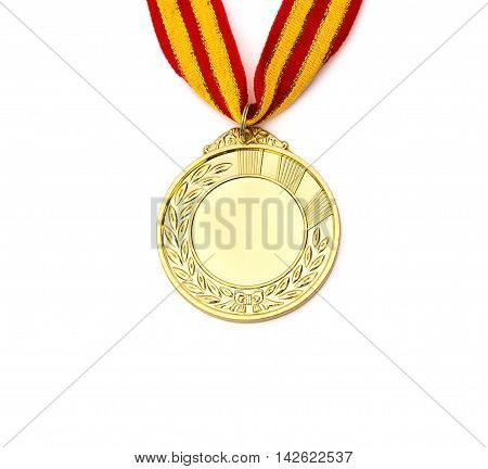 front of a gold medal on a white background