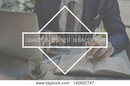 Quality Business Plan Excellence Guarantee Value Concept