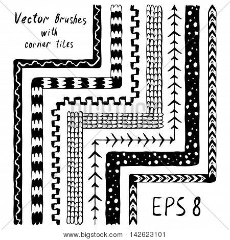 Set of decorative vector pattern brushes with inner and outer corner tiles. Hand drawn ink illustration. Eps8.