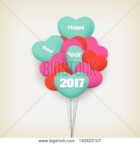 happy new year 2017 with balloons design