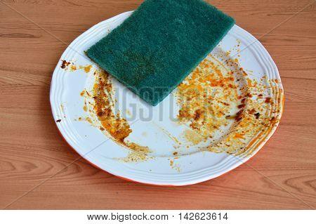 green scrub sponge wash food stain on white dish