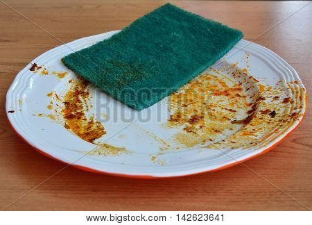 green scrub sponge wipe food stain on white dish