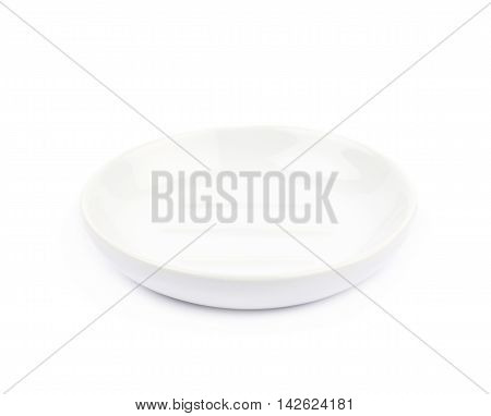 White ceramic empty soap plate isolated over the white background