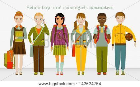 School kids group. Boys and girls. Vector illustration.