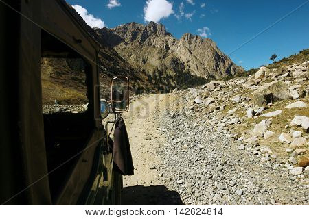 Beautiful view of mountain from jeep during road travel in swat valley KPK Pakistan 15-10-2015