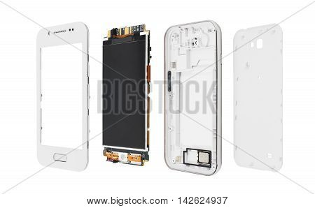Disassembled smartphone isolated on white background. Screen with microcircuit and phone case. Mobile phone production concept