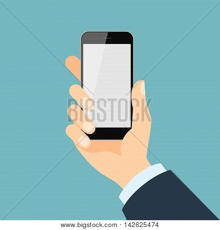 Hand holding smartphone. Isolated hand with phone. Blank screen. Businessman hand.