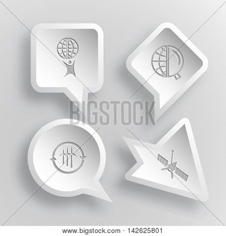 4 images: little man with globe, and magnifying glass, wind turbine, spaceship. Science set. Paper stickers. Vector illustration icons.
