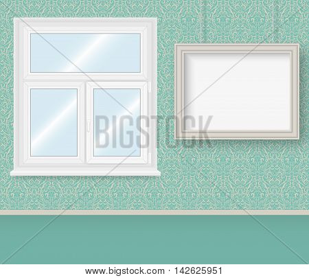 Realistic white plastic window and frame on the wall with Damask wallpapers. Vector illustration.