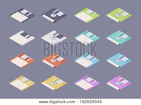 Isometric flat colored floppy disks, diskettes set. The objects are isolated against the dark-purple background and shown from two sides