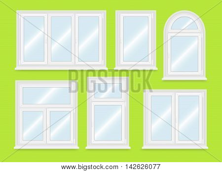 Realistic white plastic windows set. Vector illustration.