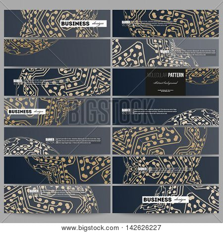 Set of modern vector banners. Golden microchip pattern, abstract template with connecting dots and lines, connection structure. Digital scientific vector background