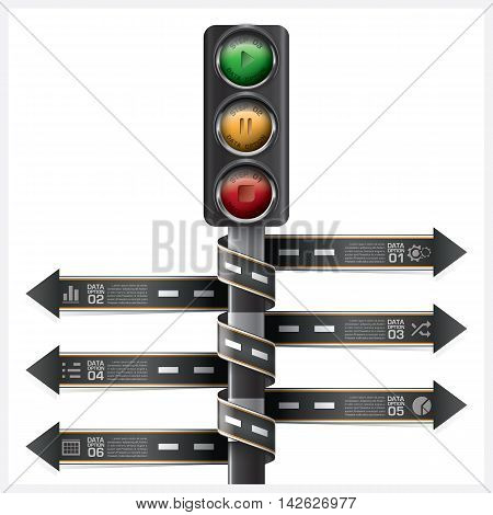 Road And Street With Traffic Light Sign Spiral Arrow tag Infographic Diagram Vector Design Template