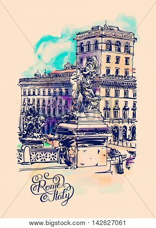 original freehand watercolor travel card from Rome Italy, old italian imperial building and sculpture monument with hand lettering inscription, travel book vector illustration