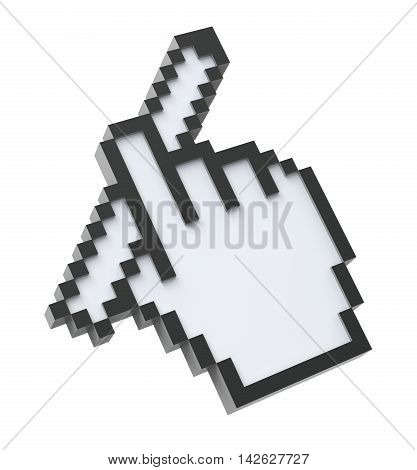 3D Pixel cursor with the pencil isolated on white background - 3D illustration