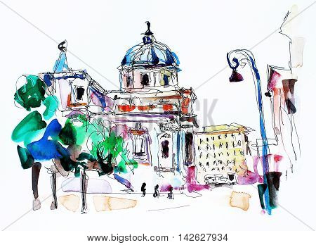 original freehand watercolor travel card from Rome Italy, old italian imperial building, travel book illustration