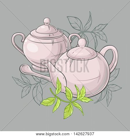 Illustration with  teapot and sugar bowl and green tea leaves
