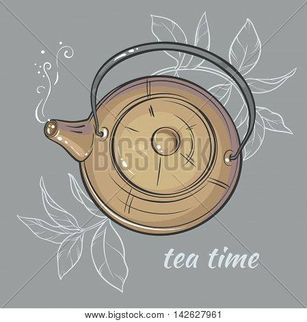 Vector Illustration withbrown  teapot on grey background
