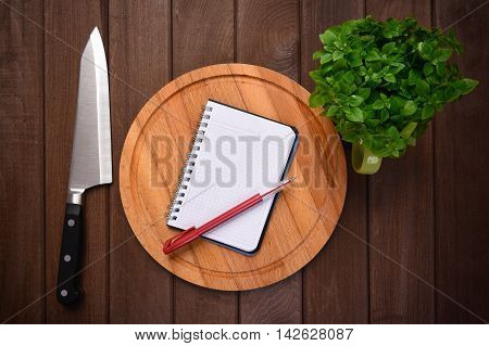 Menu Concept. Cutting Board On Planks Food Background