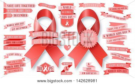 AIDS - vector ribbon collection. Vector set. Stop AIDS signs set. AIDS red ribbon. World AIDS day - 1 December. HIV & STI.