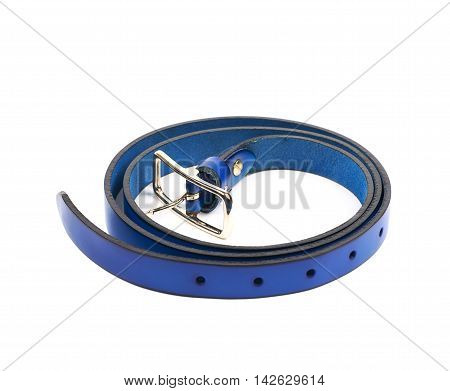 Folded blue leather belt isolated over the white background