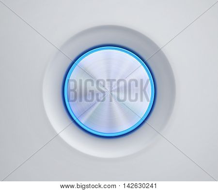 Metal button with blue glow. 3D rendering