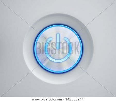 Power button with blue glow. 3D rendering