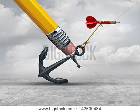 Removing restrictions and eliminating obstacles to achieving goals as a pencil erasing a heavy restrictive anchor holding down a flying dart as a business metaphor for success intervention with 3D illustration elements.
