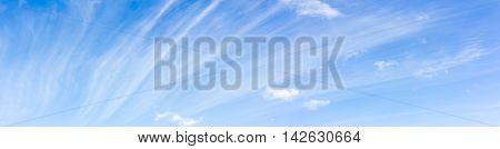 Cirrus cloud on blue sky nature abstract background panorama